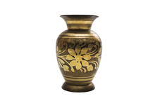 Antic Gold Engraved Dyed Metal Vase In Oriental Style
