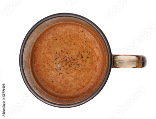 Foto op Plexiglas Chocolade Coffee skin in a cup on a white background