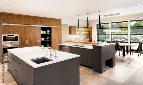 Kitchen in New Luxury Home with Two Islands, Two Sinks, Hardwood ...