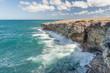 Coastline in Barbados. Rocks and Ocean Waves. Caribbean Sea Island