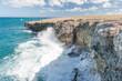 Coastline in Barbados. Rocks and Ocean Waves Sprays. Caribbean Sea Island