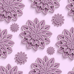 Tapeta Seamless pattern with purple 3d paper flowers