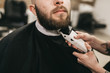 Bearded hipster client visiting barber shop