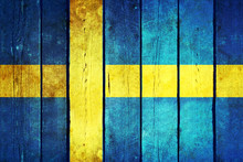 Sweden Wooden Grunge Flag.