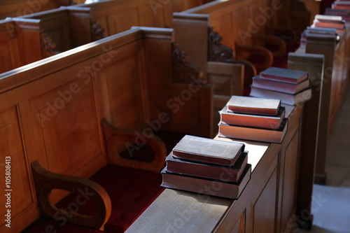 Photo Bible book in the sunny church