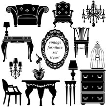 Set Of Antique Furniture - Iso...