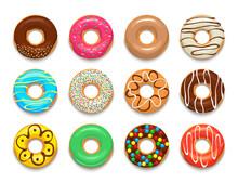 Donuts Icons Set, Cartoon Style