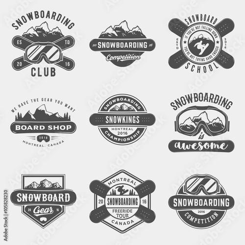 Fotografie, Obraz  vector set of snowboarding logos, emblems and design elements