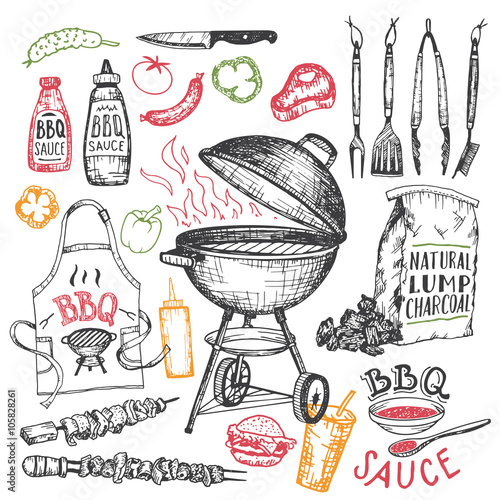 Fotografie, Obraz  Barbecue hand drawn elements set in sketch style isolated on white background