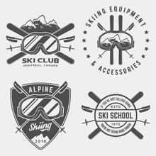 Vector Set Of Skiing Logos, Em...