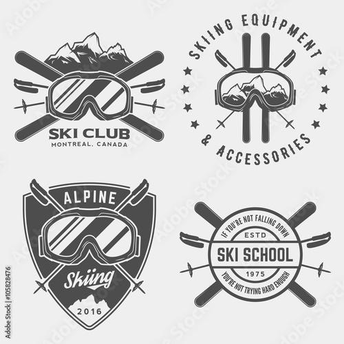vector set of skiing logos, emblems and design elements Wall mural