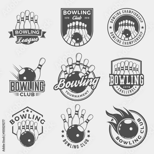 Fotografie, Obraz vector set of bowling logos, emblems and design elements