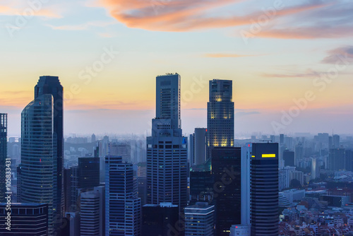 Singapore skyscrapers at sunset