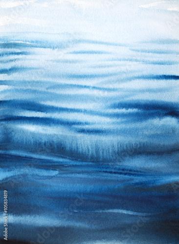 Tło morze akwarela