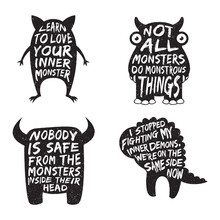Set Of Monster Typography Post...
