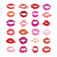 Lipstick Kiss Isolated On Whit...