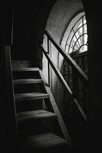 Contrast Light From A Window On Stairs. Old Building. Ukraine