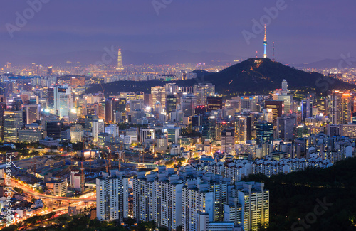Seoul City at night and N Seoul Tower