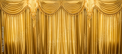 Recess Fitting Theater Gold curtains on stage