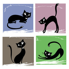 Fototapeta Kot Set of black cats