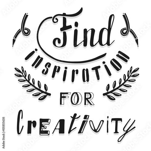 Photo  Find inspiration for creativity. Hand drawn lettering
