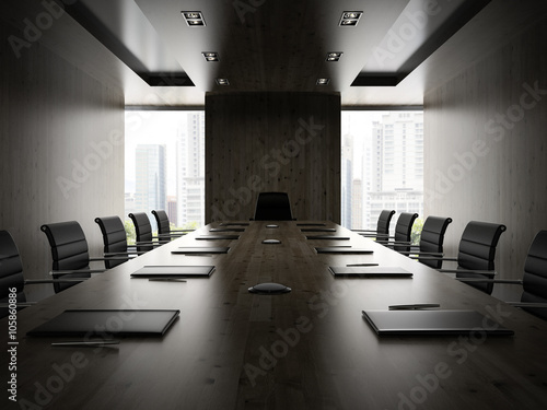 Fototapety, obrazy: Interiopr of modern boardrooml with black armchairs 3D rendering