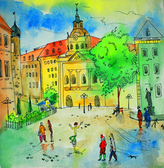 Panel Szklany Architektura watercolor painting, sketch, illustration, Bavaria, Trier