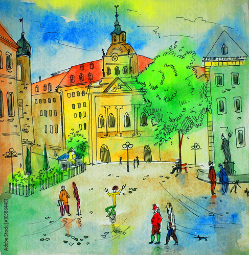 watercolor painting, sketch, illustration, Bavaria, Trier - 105864481