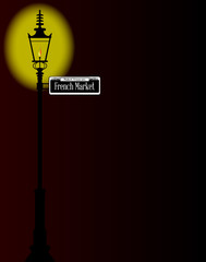 French Market Sign With Lamp