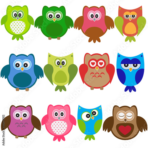 Canvas Prints Vector set of colorful owls