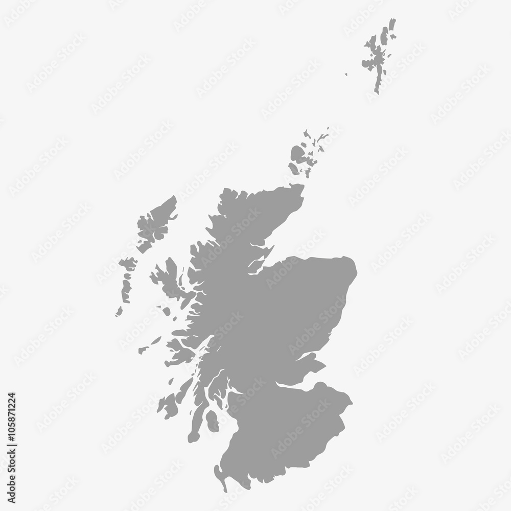 Fototapeta Map of Scotland in gray on a white background