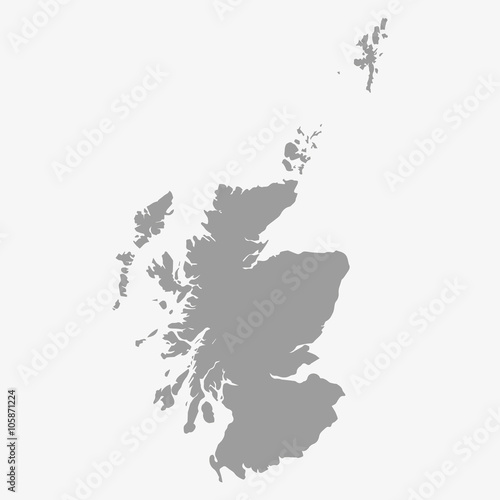 Map of Scotland in gray on a white background Wall mural