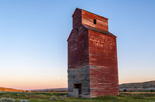 Old Abandoned Grain Elevator On The Canadian Prairies.