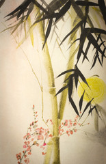 Fototapeta Japoński Sun bamboo and plum branch