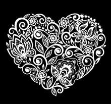Silhouette Of Heart Lace Flowe...