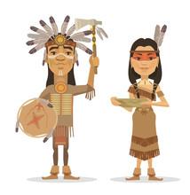 Native Americans Couple. Vector Flat Illustration