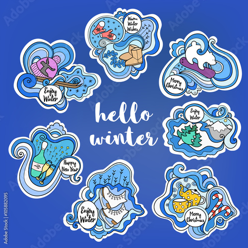 Set Of Colorful Winter Stickers For Fridge Magnets Templates