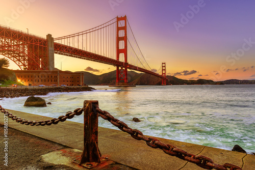 Fotografering  Golden gate Evening