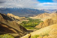 Leh Ladakh, Village Among The Mountain With Himalayas Background.