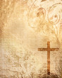canvas print picture - Christian cross on paper background