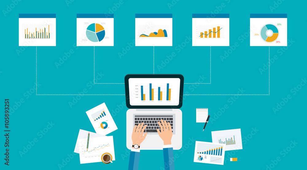 Fototapeta business analytic  graph report . business investment planning
