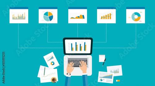 Fototapeta business analytic  graph report . business investment planning  obraz
