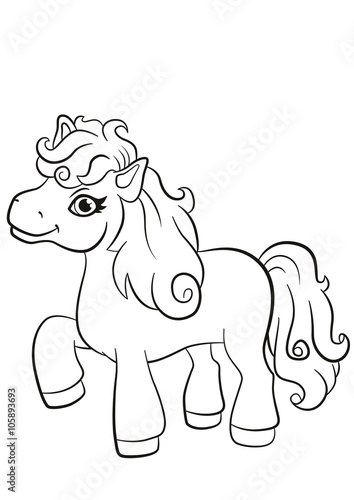 Recess Fitting Cartoon draw Coloring pages. Little cute pony stands and smiles.