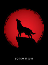 Wolf Howling, Designed Using On Sunset Or Sunrise Background Graphic Vector.