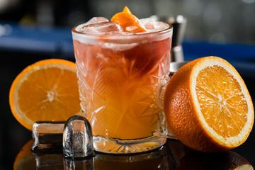 Panel Szklany Koktajle Fresh cocktail with orange and ice. Alcoholic, non-alcoholic dri