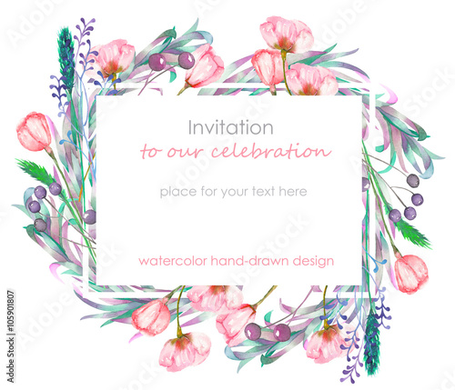 Card template with the floral design berries spring flowers and card template with the floral design berries spring flowers and leaves hand drawn m4hsunfo