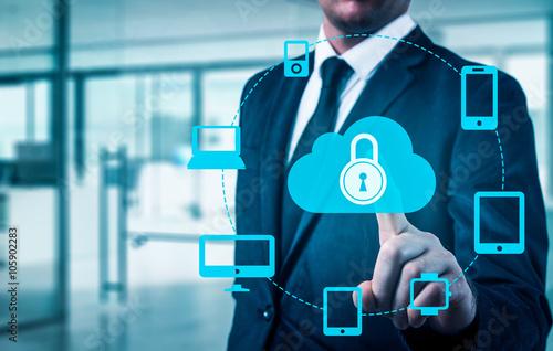 Fotografia  Protect cloud information data concept
