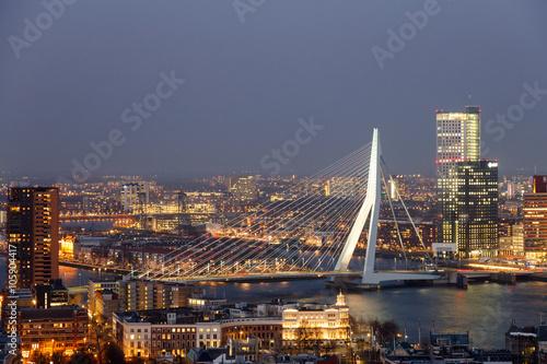 Aluminium Prints Rotterdam Erasmus bridge in Rotterdam