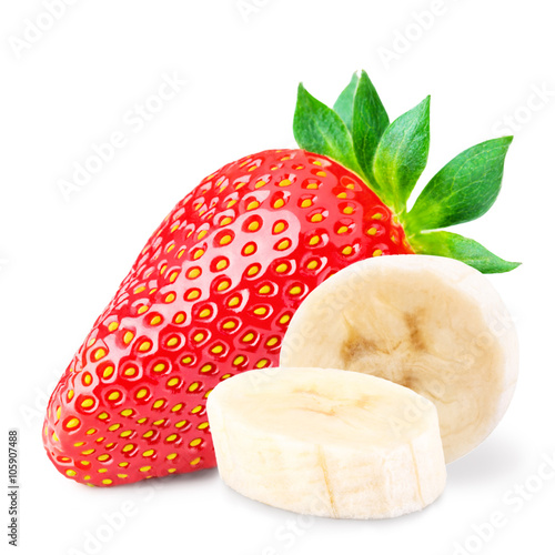 Red berry strawberry banana  isolated on white background