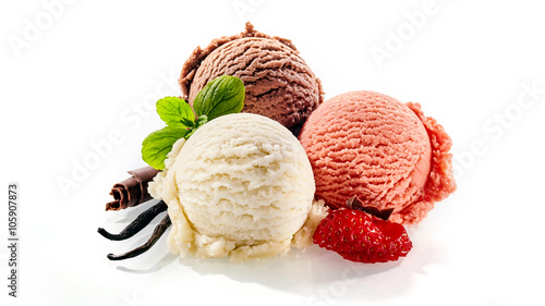 Poster Dessert Three single servings of colorful frozen dessert